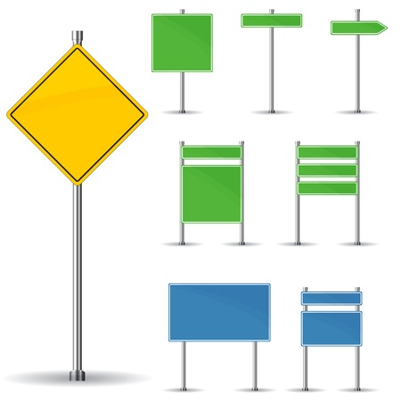 warning signs: Blank road signs board and arrow vector Illustration