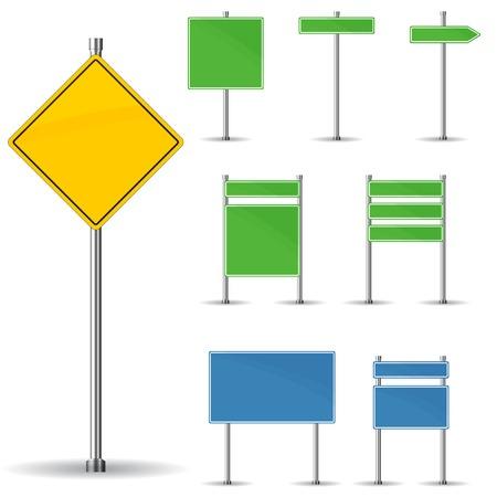 señales preventivas: Tarjeta en blanco las señales de tráfico y la flecha del vector