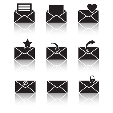 vector black web icons set on white Stock Vector - 24503509