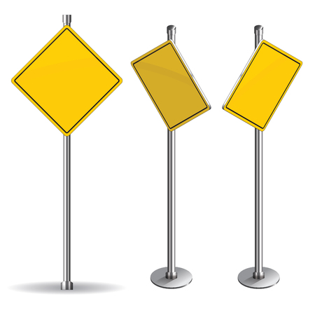 Blank yellow road sign on white Vector
