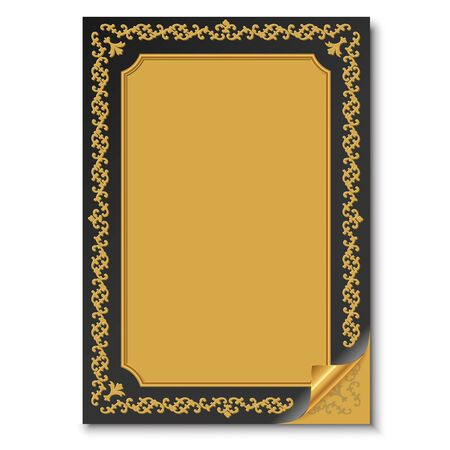 patched: black folded paper with oriental gold ornament