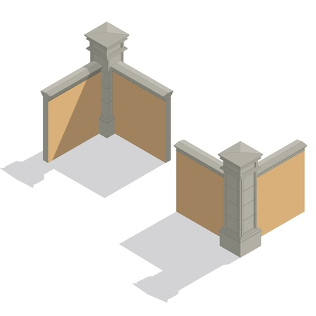 enclosure: Vector isometric stone fence set, construction kit with shadow