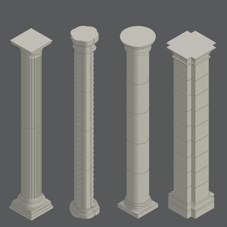 Classical stone columns vector set  ,  isometric Ilustrace
