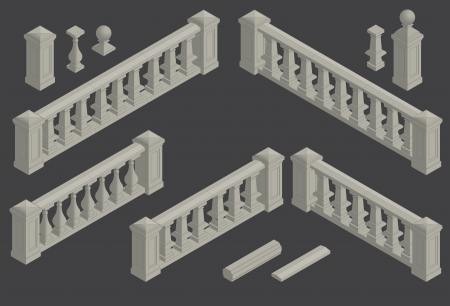 concrete stairs: set of isometric architectural element balustrade, vector