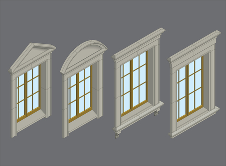 high detailed: high detailed isomentic windows with stone surround Illustration