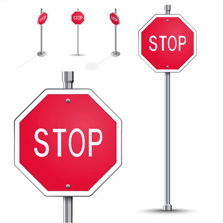 Stop road sign high detailed and isometric Vector