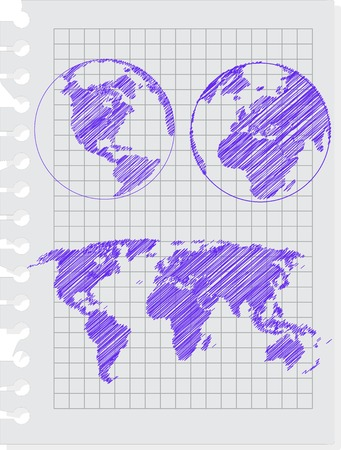 earth sketch hand drawind with pen on the notebook sheet Vector