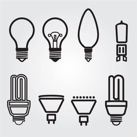 Light bulbs. Bulb icon set.  lamps collection