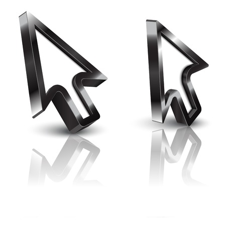 3d vector glossy arrow mouse pointer. two type set Vector