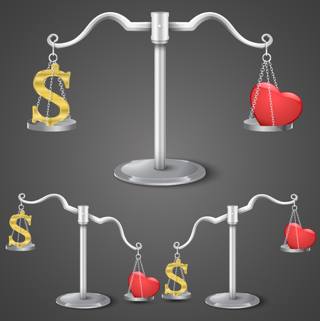 Balance between dollar and love. Vector illustration Vector
