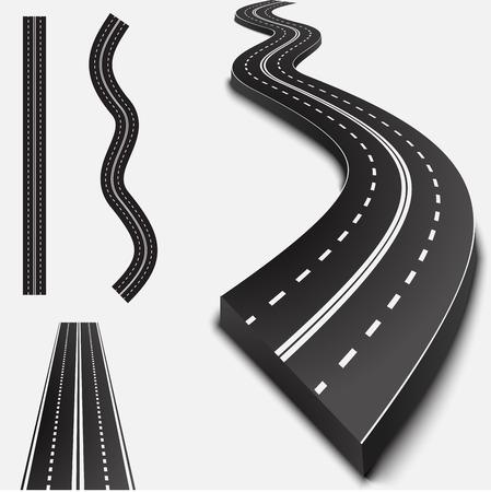 Abstract asfaltweg geïsoleerd op wit met schaduwen