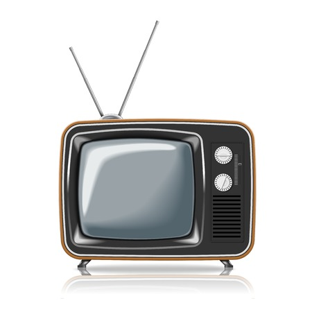 television aerial: Realistic vintage TV. Illustration on white background for design