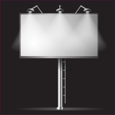 lighted: Billboard template night vector illustrayion background with spotlight