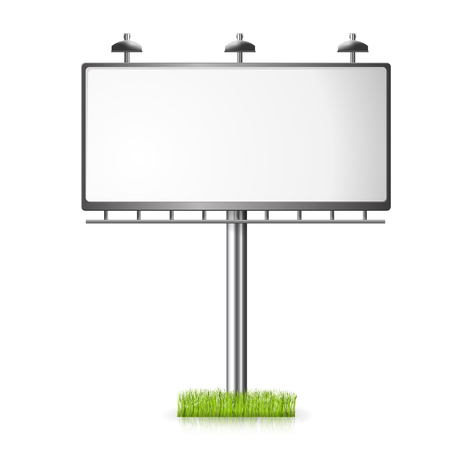 outdoor blank billboard: Billboard template night vector illustrayion background with spotlight