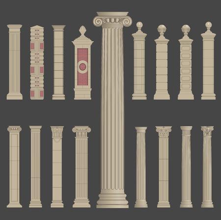 pillar column roman greek architecture Illustration