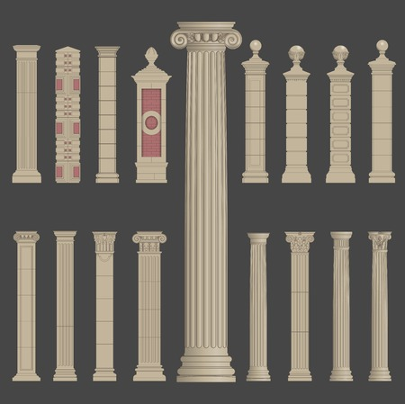 pillar column roman greek architecture Illustration