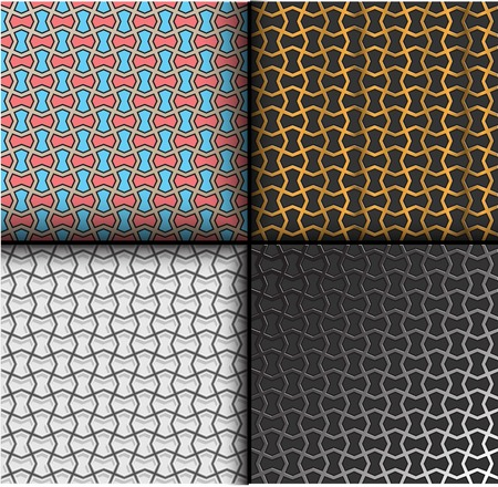antiquary: decorative seamless pattern set. dark white gold colorful Illustration