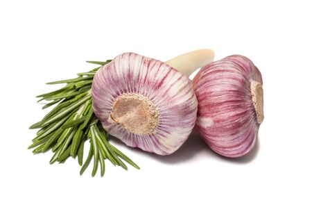 garlic cloves: Garlic and rosemary isolated on white background