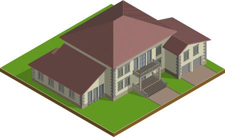 villa: Cottage, huge stone Estate, classic villa. Isometric Vector EPS10