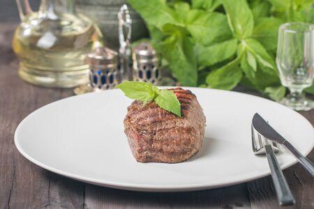 gourmet dinner: Close up of a gourmet dinner plate with beef steak