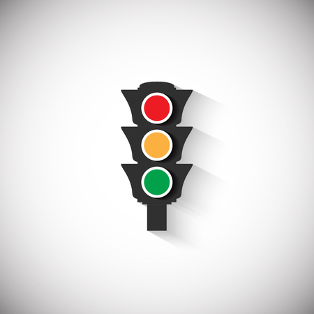 the white back: Traffic light icon with shadow on white back