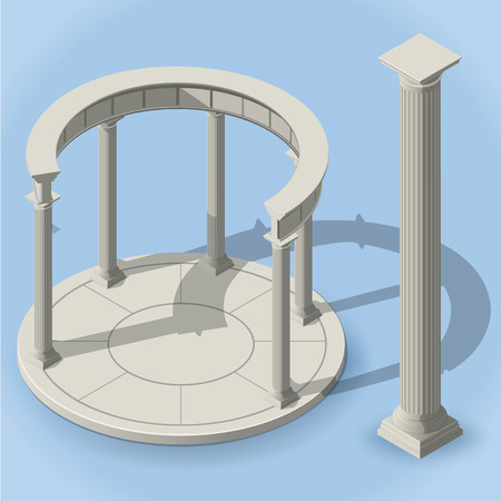 perimeter: ancient isometric rotunda with shadows without dome monopteros Illustration