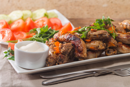 dinner menu: Fried Chicken Necks with vegetables and sauce