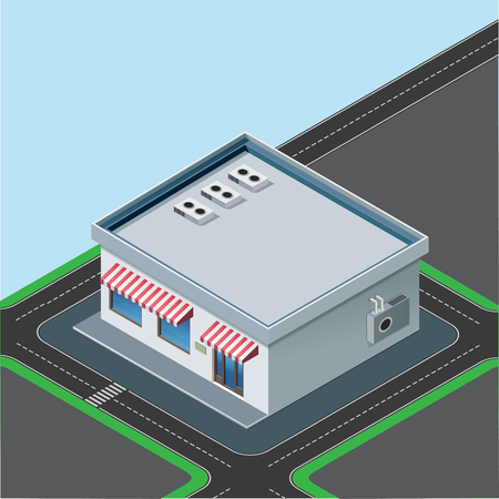 sidewalk cafe: isometric little shop building with red awnind on street background