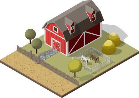 hard rain: Isometric High Quality Farming . American Traditional Old Barn Icon  Set. Rural Building Farm Ville with fence and Cow.