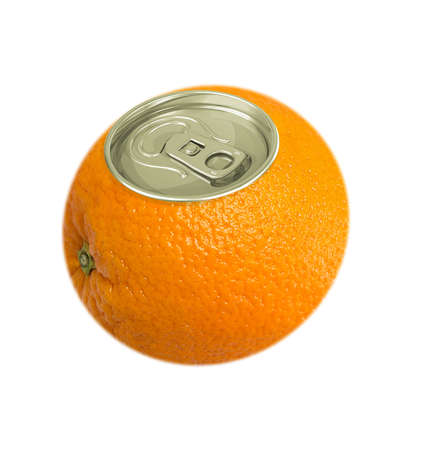aluminum cans: Fresh orange fruit with cover of aluminum cans isolated on white background, concept.