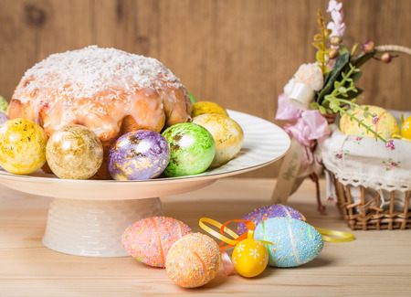 breakfast food: Easter cake and eggs on festive Easter table