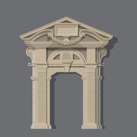 entrance: image of stone entrance of house classic style Illustration