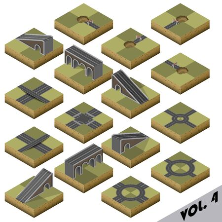 brige: Road Map Kit Sandy - elements to create your own isometric city map Illustration