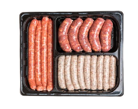 pork sausage: Vacuum package of sausages. Isolated on white.