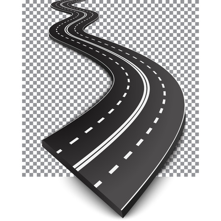Curved road with white markings.