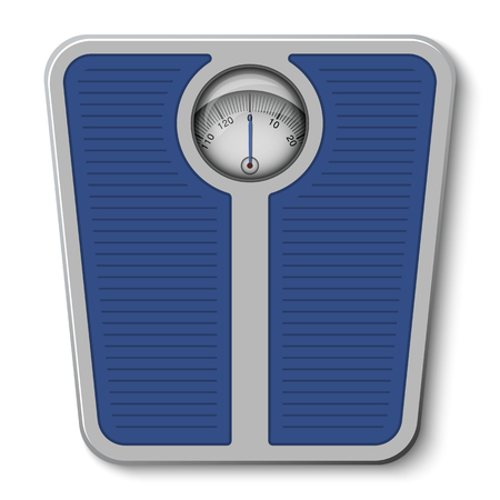 white bathroom: Bathroom weight scale on white background. Illustration