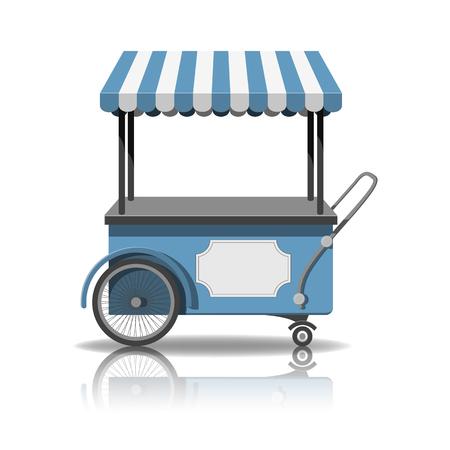 Ice cream cart. shop on wheels icon illustration