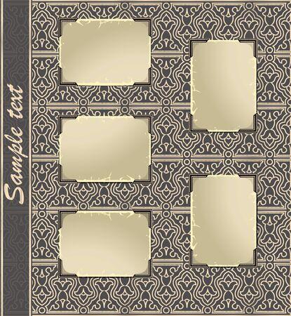 Pagina da un album di foto in stile retrò con cornice in bianco