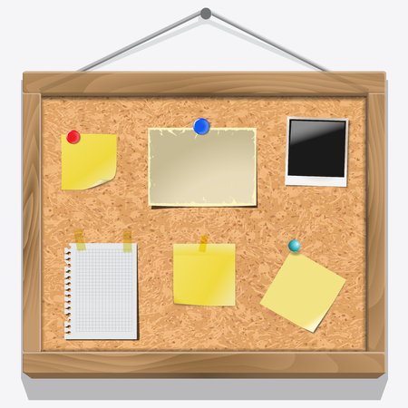 tacks: Items pinned to a cork message board with wood frame, ready for your customized text or images. Yellow stick note. Blank worksheet exercise book. Empty shiny photo frame.