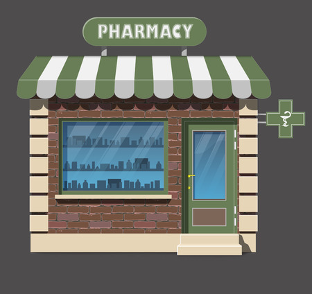 frontdoor: Vector flat style illustration of pharmacy drugstore building. Pharmacy vitrine with tablets, pills and potions. Isolated