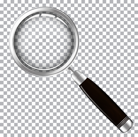 Magnifying glass with dark handle isolated on transparent background vector illustration Illustration