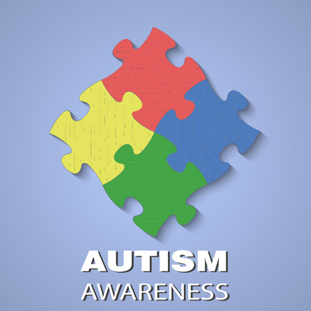 asperger syndrome: Puzzle icon with texn autism awareness day