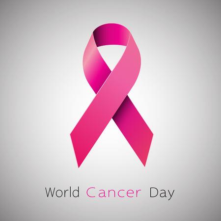 Cancer Awareness pink Ribbon. World Cancer Day concept. Vector Illustration Illustration