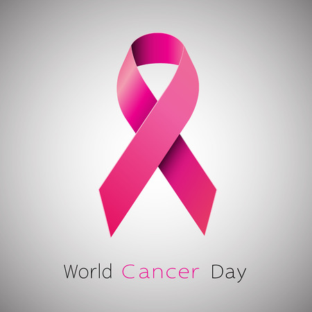 rak: Cancer Awareness różową wstążką. Koncepcja Światowy Dzień Walki z Rakiem. Ilustracja wektorowa