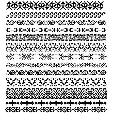 黒と白の色の装飾要素パターンを国境します。ベクトル イラスト。
