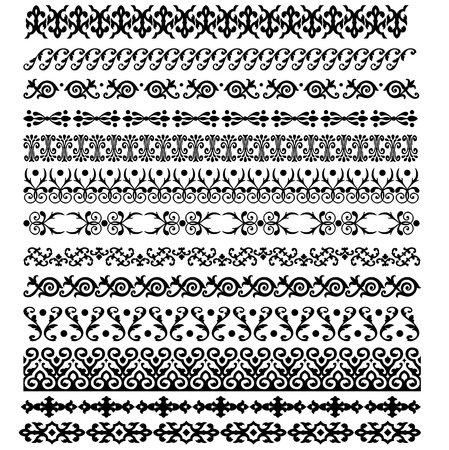 tibet: Border decoration elements patterns in black and white colors. Vector illustrations.