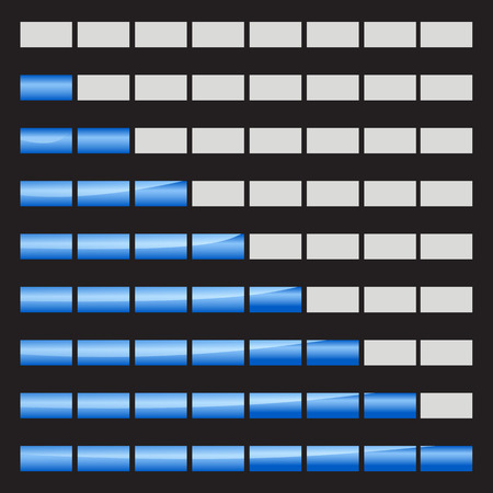 incremental: Horizontal progress bars 8 positions vector illustrations