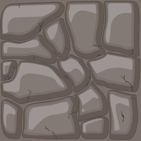 road paving: Brown stone background. Vector illustration  game texture