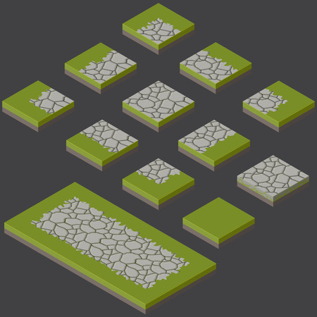 shingle: isometric stone tiles construction kit with grass connection Illustration