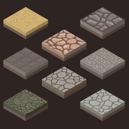 jeu isométrique de carreaux en pierre sans soudure aléatoires pour les jeux